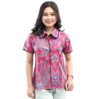 S-M-L-XL-XXL-3L-4L-5L- Blouse Batik Model Kemaja Warna PINK Antik