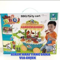 MAINAN ANAK EDUKATI BBQ KITCHEN PARTY CART GEROBAK BIRU 55 PCS