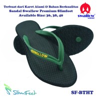 Sandal Swallow Premium SlimFeet Wanita Black - Tali Hijau Tua