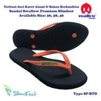 Sandal Swallow Premium SlimFeet Wanita Black – Tali Orange