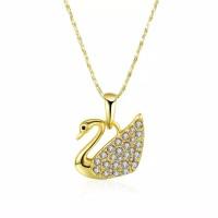 Tiaria Gold Plated Necklace Pendant KRGPN597 Kalung Swan Lapis Emas