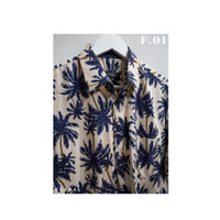 Kemeja Casual Floral Lengan Pendek Pria / Wanita - Navy Palm