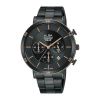 Jam Tangan Alba Pria AT3F60 AT3F60X1 STAINLESS STEEL BLACK