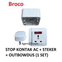 BROCO Galleo Stop Kontak AC Steker outbow galeo putih OB G155 1 SET 3P