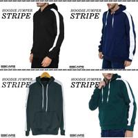 Jaket Hoodie JUMPER STRIPE Polos Bahan Cotton Fleece Distro