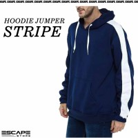 Jaket Hoodie JUMPER STRIPE Polos Bahan Cotton Fleece Distro - Navy