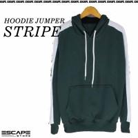 Jaket Hoodie JUMPER STRIPE Polos Bahan Cotton Fleece Distro - Army