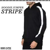 Jaket Hoodie JUMPER STRIPE Polos Bahan Cotton Fleece Distro - HITAM