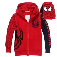 Jaket Anak Laki-laki Gambar Spiderman Warna Merah Pakai Kupluk