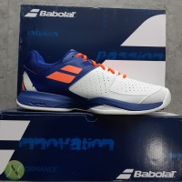 Sepatu Tenis Babolat Pulsion All Court White / Dazzling Blue - 44.5