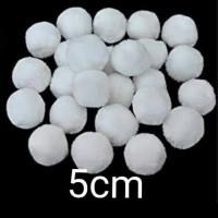 isi 10 pompom putih 5cm kualitas bagus