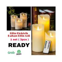 Bahan Wax Lilin Asli Lilin Besar Elektrik Goyang dengan Remote (3pcs)