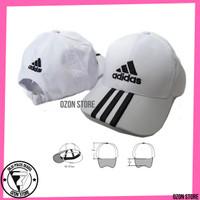 Topi Adidas Strip Topi Baseball Distro Caps Pria Wanita Bordir - Putih