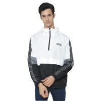 "Jacket Parachute Hoodie Coplaw ""Persatuan"" Black and White with Tenun"