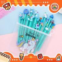 10pcs Pulpen Set Karakter Biru Free tempat pensil unicorn pvc BD0005