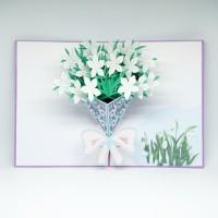 KARTU UCAPAN POP UP 3D KARAKTER BUKET WHITE FLOWER FREE AMPLOP!!