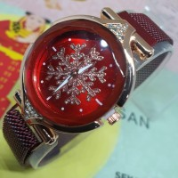 Jam tangan wanita magnet OVAL MOTIF BUNGA SALJU