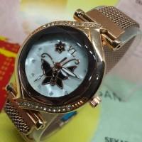 Jam tangan wanita magnet YL oval motif kupu kupu