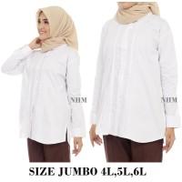 NHM Kemeja Putih Polos JUMBO Opnasel-Kemeja Wanita Baju Kantor Formal