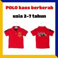 Kaos anak berkerah polo shirt merah baju kerah putra cowok atasan