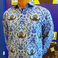 Seragam Kemeja Hem Katun Pria Batik KORPRI Biru Dinas PNS Panjang