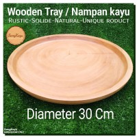 Wooden Tray D-30 cm Wooden plate nampan kayu bulat piring nampan saji