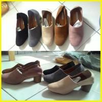 Sepatu Kerja Pesta High Heels Low Wanita Korea Heel Import