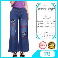 Celana Kulot Anak Usia 4-7 Tahun Bahan Jeans Motif Bordir Lucu