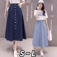 Leah Denim Skirt (#6071)/ Rok denim panjang/Rok kancing/RokWanitaJeans