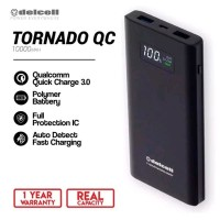 Delcell TORNADO Powerbank 10000mAh Support Quick Charge 3.0A Real Capa