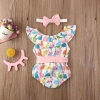 Jumper sabrina rainbow rabbit pink ribbon + headband | baju anak bayi