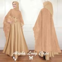 Gamis Maxi / Baju Dress Wanita Muslim Alisha + Long Cape Brukat HQ