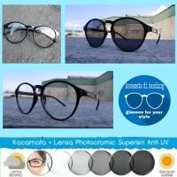 kacamata frame ouval + lensa photocromic rubah warna