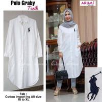 Kemeja Putih Wanita Polo - Tunik Panjang Warna Putih XL High Quality