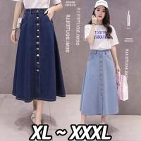(#6071/Bigsize XL/XXL/XXXL)Leah Denim Skirt/Rok panjang wanita