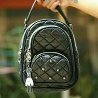 Tas Ransel Wanita Backpack Mini Stut Fashion ( Gratis Aksesoris )