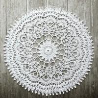 Taplak meja rajut bulat handmade doily crochet S04