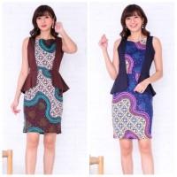 Dress Batik Peplum / Batik Wanita Kantoran