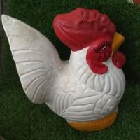 (Hanya GOJEK&GRAB) Celengan Ayam Putih dari Tanah Liat/Gerabah
