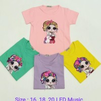 Pakaian Baju Atasan Kaos LOL Unicron LED Music Anak Perempuan Cewek
