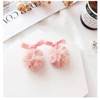 Anting Korea Bowknot PomPom earrings (Pink)