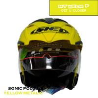 Helm DOUBLE VISOR SONIC Half Face Polos Warna Yellow Metalic