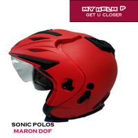 Helm DOUBLE VISOR SONIC Half Face Polos Warna Maron Dof