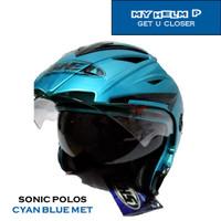 Helm DOUBLE VISOR SONIC Half Face Polos Warna Cyan Blue Metalic