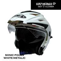 Helm DOUBLE VISOR SONIC Half Face Polos Warna White Metalic