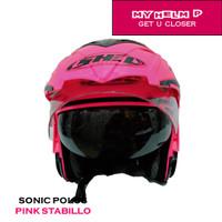 Helm DOUBLE VISOR SONIC Half Face Polos Warna Pink Stabillo