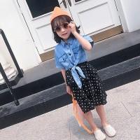 Cantik Hibts Dress Casual Tanpa Lengan Bahan Denim untuk Anak