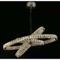 Lampu hias gantung indoor 3 ring cincin crystal led 70w warna silver