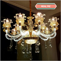 Lampu hias gantung candle LED flower glass crystal exclusive cabang 15