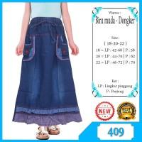 Rok Panjang Jeans Anak Usia 6-10 tahun bordir berkaret dan katung